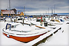 Vinter på Dragør havn - Snowy weather at Dragor harbour