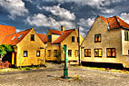 Dragør landsby - Beautiful yellow houses in the village Dragor in Denmark