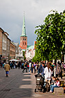 Lübeck Tyskland - View from the pedestrianized street in Lübeck Germany